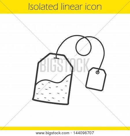 Tea bag linear icon. Thin line illustration. Ceylon teabag contour symbol. Vector isolated outline drawing