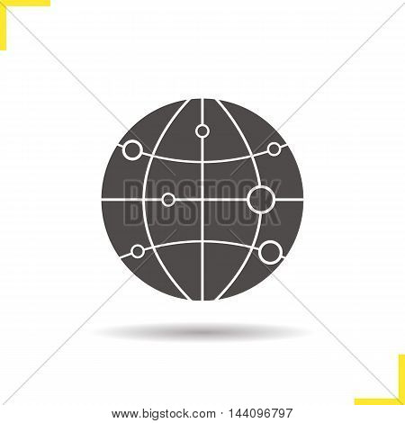 Globe model with route points icon. Drop shadow worldwide silhouette symbol. Planet earth spherical model. Negative space. Vector isolated illustration