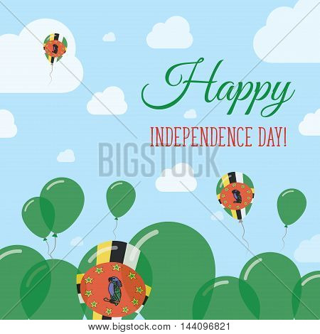 Dominica Independence Day Flat Patriotic Design. Dominican Flag Balloons. Happy National Day Vector