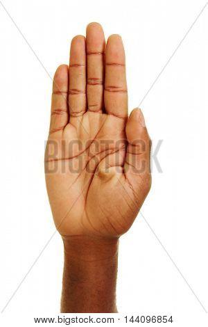 Open palm of an hand of african man