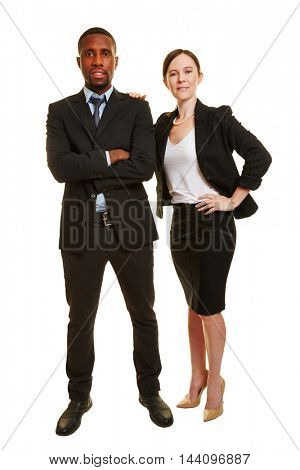 Business duo with man and woman as two businesspeople isolated on white background