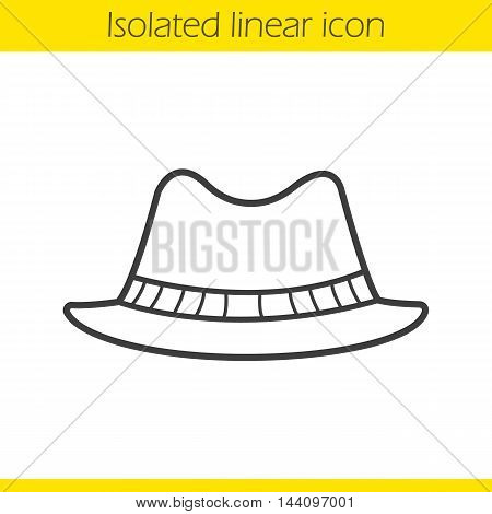 Men's hat linear icon. Thin line illustration. Contour symbol. Vector isolated outline drawing