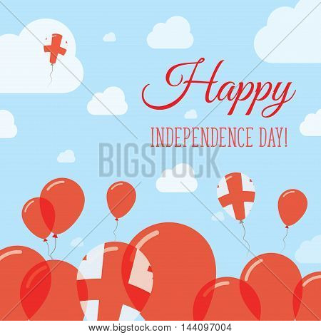 Georgia Independence Day Flat Patriotic Design. Georgian Flag Balloons. Happy National Day Vector Ca