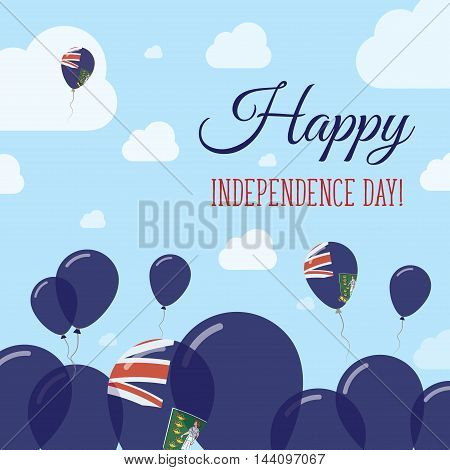 Virgin Islands, British Independence Day Flat Patriotic Design. Virgin Islander Flag Balloons. Happy