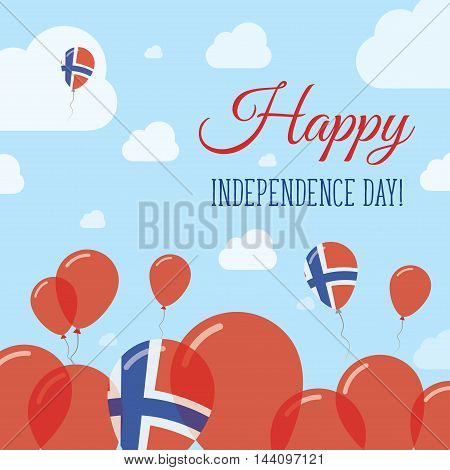 Svalbard And Jan Mayen Independence Day Flat Patriotic Design. Norwegian Flag Balloons. Happy Nation