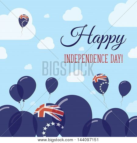 Cook Islands Independence Day Flat Patriotic Design. Cook Islander Flag Balloons. Happy National Day