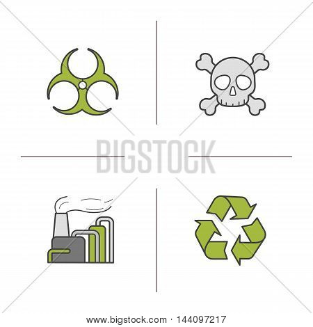 Industrial pollution color icons set. Biohazard and recycle green symbols, factory air pollution and skull with crossbones. Vector isolated illustrations