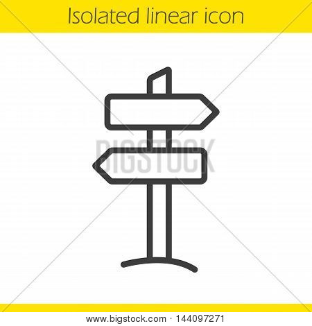 Signpost linear icon. Guidepost thin line illustration. Wooden way direction contour symbol. Vector isolated outline drawing