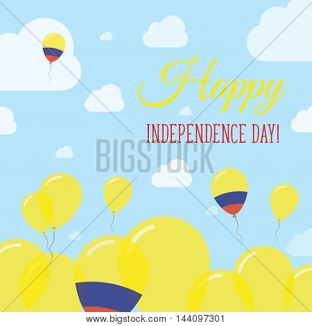Colombia Independence Day Flat Patriotic Design. Colombian Flag Balloons. Happy National Day Vector