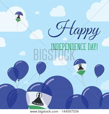 Lesotho Independence Day Flat Patriotic Design. Mosotho Flag Balloons. Happy National Day Vector Car