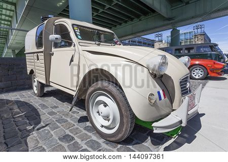COLOGNE GERMANY - AUG 7 2016: Historic Citroen 2CV Fourgonnette AK400 van from ca. 1974 at an exhibition in the city of Cologne Germany