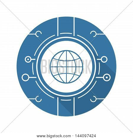 Global network icon. Drop shadow silhouette symbol. Globe in microchip pathways. Vector isolated illustration