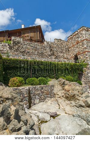 Panorama with ancient fortifications and old houses of Sozopol, Burgas Region, Bulgaria