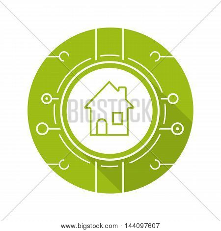Smart home icon. Drop shadow silhouette symbol. Smart house digital symbol with microchip pathways. Vector isolated illustration