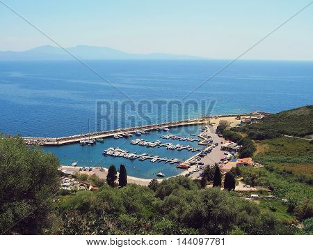 Panoramic view of harbor near Cargese, Corsica island, France