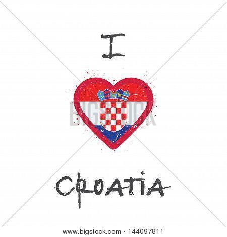 I Love Croatia T-shirt Design. Croatian Flag In The Shape Of Heart On White Background. Grunge Vecto