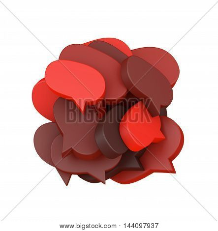 3d illustration with many colored speech bubbles arranged in a round shape