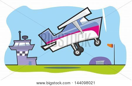 Light aircraft taking off from small airfield cartoon vector illustration