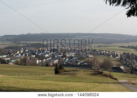 Looking in February to the Municipality of Bad Leonfelden in the countryside - Austria