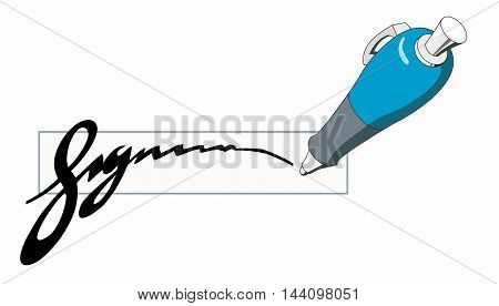 Blue ballpoint pen writing a stylized signature isolated clipart illustration.