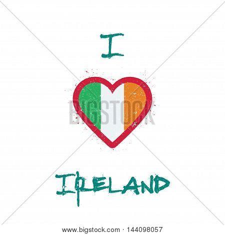 I Love Ireland T-shirt Design. Irish Flag In The Shape Of Heart On White Background. Grunge Vector I