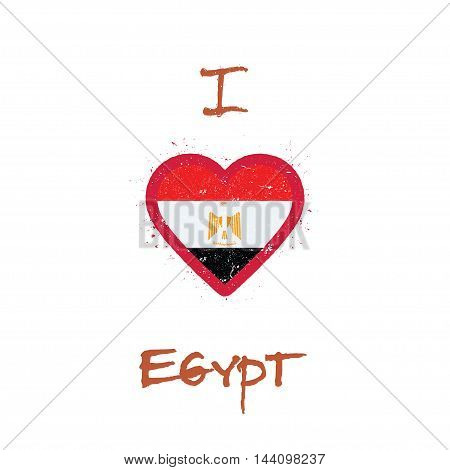 I Love Egypt T-shirt Design. Egyptian Flag In The Shape Of Heart On White Background. Grunge Vector