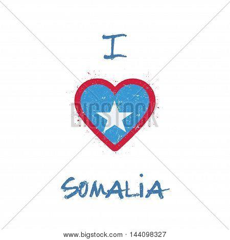 I Love Somalia T-shirt Design. Somali Flag In The Shape Of Heart On White Background. Grunge Vector