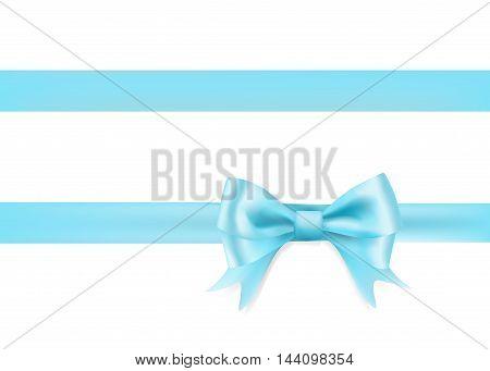 light blue ribbon bow knot on white. vector illustration