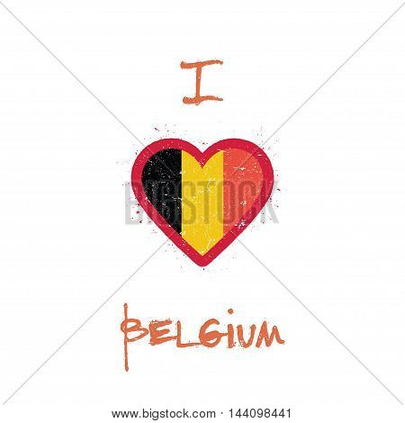 I Love Belgium T-shirt Design. Belgian Flag In The Shape Of Heart On White Background. Grunge Vector