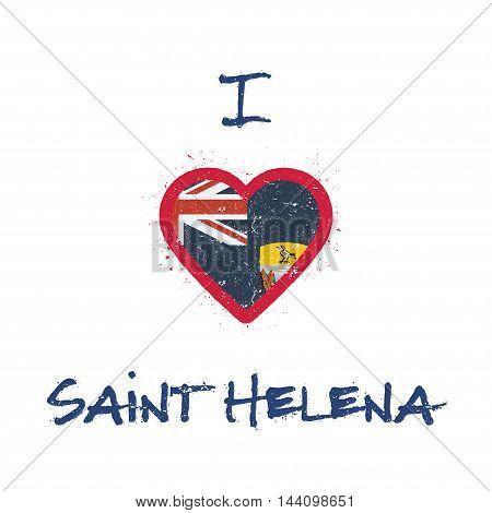 I Love Saint Helena T-shirt Design. Saint Helenian Flag In The Shape Of Heart On White Background. G