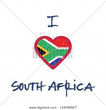 I Love South Africa T-shirt Design. South African Flag In The Shape Of Heart On White Background. Gr