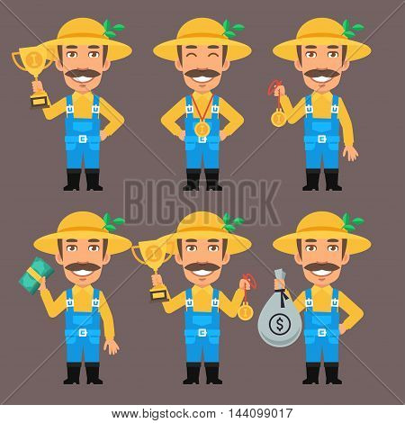 Vector Illustration, Farmer Holds Money Cup and Medal, Format EPS 8