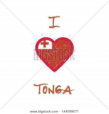 I Love Tonga T-shirt Design. Tongan Flag In The Shape Of Heart On White Background. Grunge Vector Il