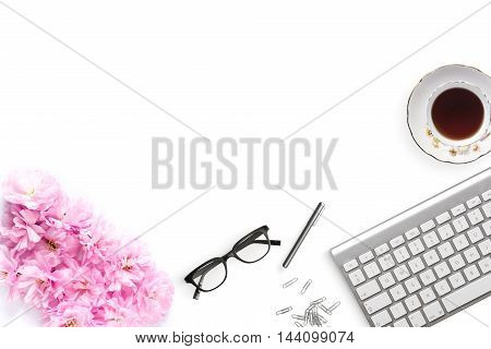 Pretty Styled Desktop Mockup flatlay stock photography white background copy space great for lifestyle bloggers and small businesses