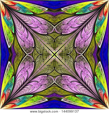 Multicolored floral pattern in stained-glass window style.