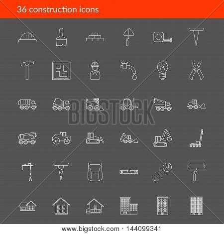 Big set with vector icons for construction and building illustration EPS 10