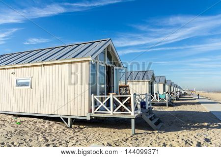 Kijkduin beach the Netherlands - August 25 2016: beach huts on the sand