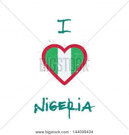 I Love Nigeria T-shirt Design. Nigerian Flag In The Shape Of Heart On White Background. Grunge Vecto