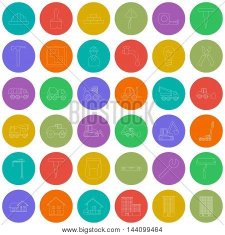Vector Big set with vector icons for construction and building illustration EPS 10outline construction colorful circles icons
