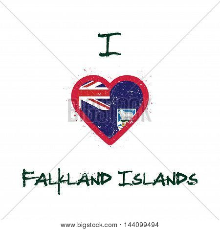 I Love Falkland Islands (malvinas) T-shirt Design. Falkland Islander Flag In The Shape Of Heart On W
