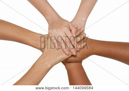 Teamwork conceptBusiness team joining hands holding together cooperation success business concept