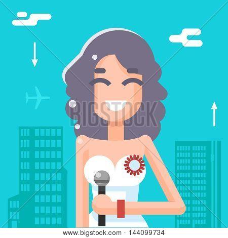 Journalist Female Girl Icon Mass Media Symbol Stylish Background Flat Design Template Vector Illustration