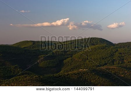 Mountain landscape of Sithonia at sunset, Greece