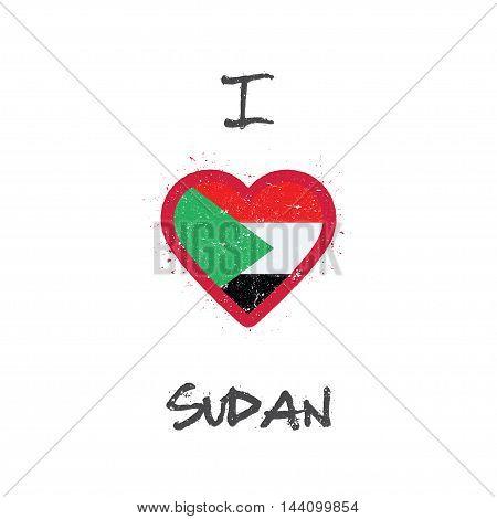 I Love Sudan T-shirt Design. Sudanese Flag In The Shape Of Heart On White Background. Grunge Vector