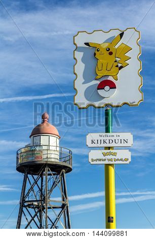 The Hague the Netherlands - August 25 2016: Pokémon GO hot spot at Kijkduin The Hague the Netherlands