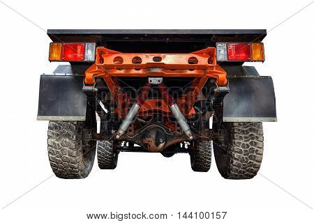 Suspension of the four-wheel drive pickup truck isolated on white background.