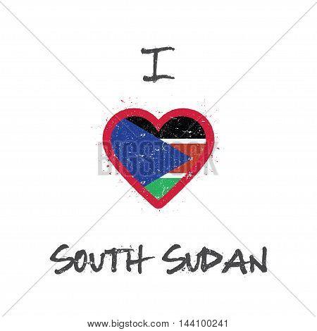 I Love South Sudan T-shirt Design. South Sudanese Flag In The Shape Of Heart On White Background. Gr