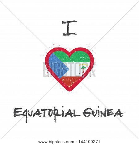 I Love Equatorial Guinea T-shirt Design. Equatorial Guinean Flag In The Shape Of Heart On White Back