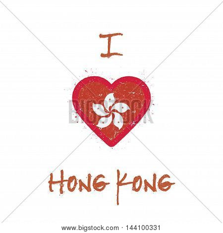 I Love Hong Kong T-shirt Design. Chinese Flag In The Shape Of Heart On White Background. Grunge Vect
