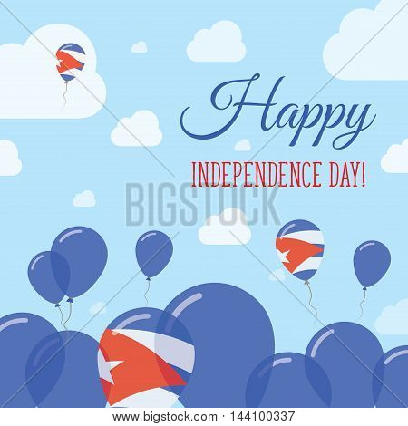 Cuba Independence Day Flat Patriotic Design. Cuban Flag Balloons. Happy National Day Vector Card.